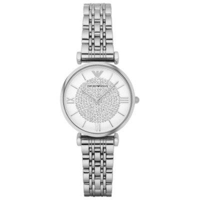 エンポリオアルマーニ腕時計/レディース/AR1925/ホワイトダイアル/ジャンニ/パヴェクリスタル/シルバーベルト