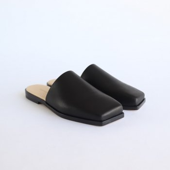 LEATHER SQUARE SANDALS MADE BY FOOT THE COACHER #BLACK [A20AS04FT] _ AURALEE | オーラリー