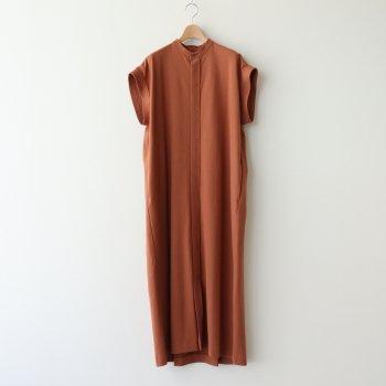 14/- SUVIN AIR SPINNING BAND COLLAR DRESS #CAMEL [OPAGIM0200] _ ATON   エイトン