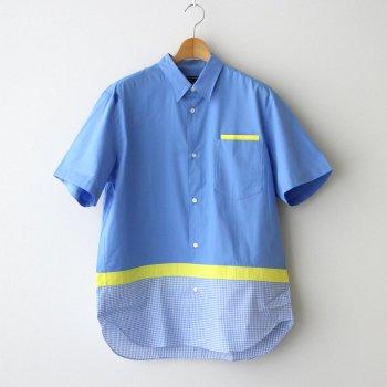 綿ブロード×綿エステルブロード×綿チェック S/Sシャツ #SAX×YELLOW×WHITE [HG-B033-051] _ COMME des GARCONS HOMME   コム デ ギャルソン オム