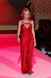 Kristin Chenoweth shows great cleavage and side-boob during Heart Truth Fall 2010 Fashion Show during Mercedes-Benz Fashion Week in New York City - Hot Celebs Home