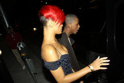 Rihanna in sexy tight dress show off her legs and cleavage as she walks to Maestro's Steakhouse in LA - Hot Celebs Home