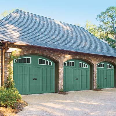 garage doors painted green