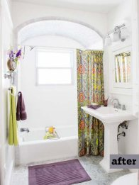 after remodel of white bath with green and purple accents, arched shower ceiling, pedestal sink