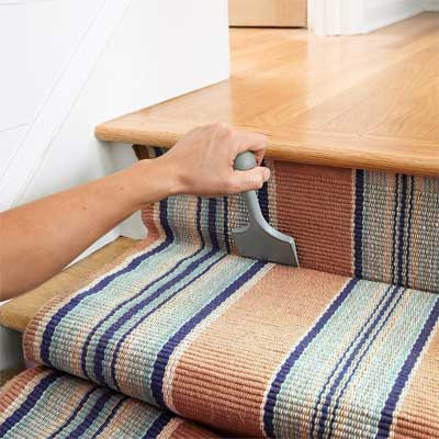 Tuck and Staple to Install a Flat-Weave Cotton Stair Runner