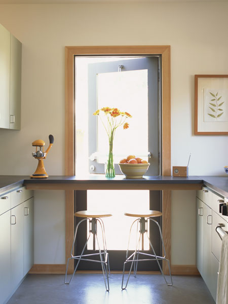 modern kitchen with an exterior dutch door