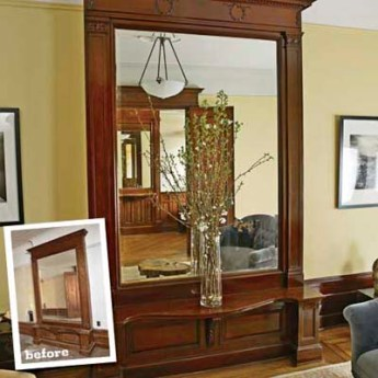 home remodeling large built-in mirror in hallway reflecting the mirror across from it