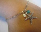 Silver star fish Charm bracelet