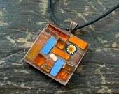 Orange and Blue Dynamic Duo Mosaic Pendant