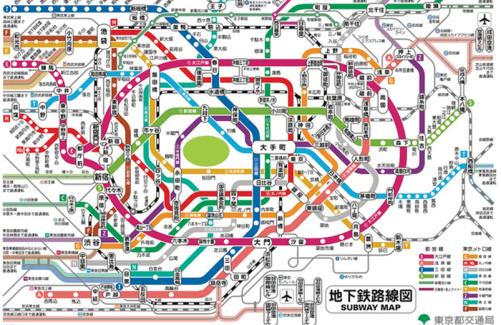 東京地鐵路線地圖(圖片來源:東京都交通局)
