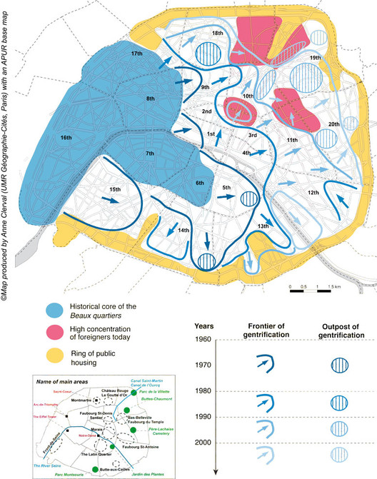 Dinámicas espaciales de la gentrificación en París desde la década de 1960. Image © Anne Clerval, 2008