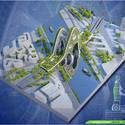Vista aérea Torre Puente. Imágen cortesía de Vincent Callebaut Architecture
