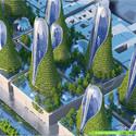 Vista aéreaTorres Montaña . Imágen cortesía de Vincent Callebaut Architecture