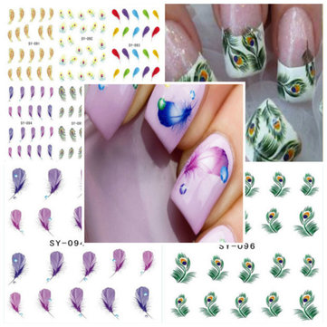 Pea Feather Nail Art Water Transfers Decals Stickers
