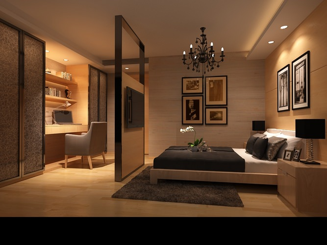 Bedroom or Hotel Room Photoreal 3D model MAX on Model Bedroom Design  id=71111