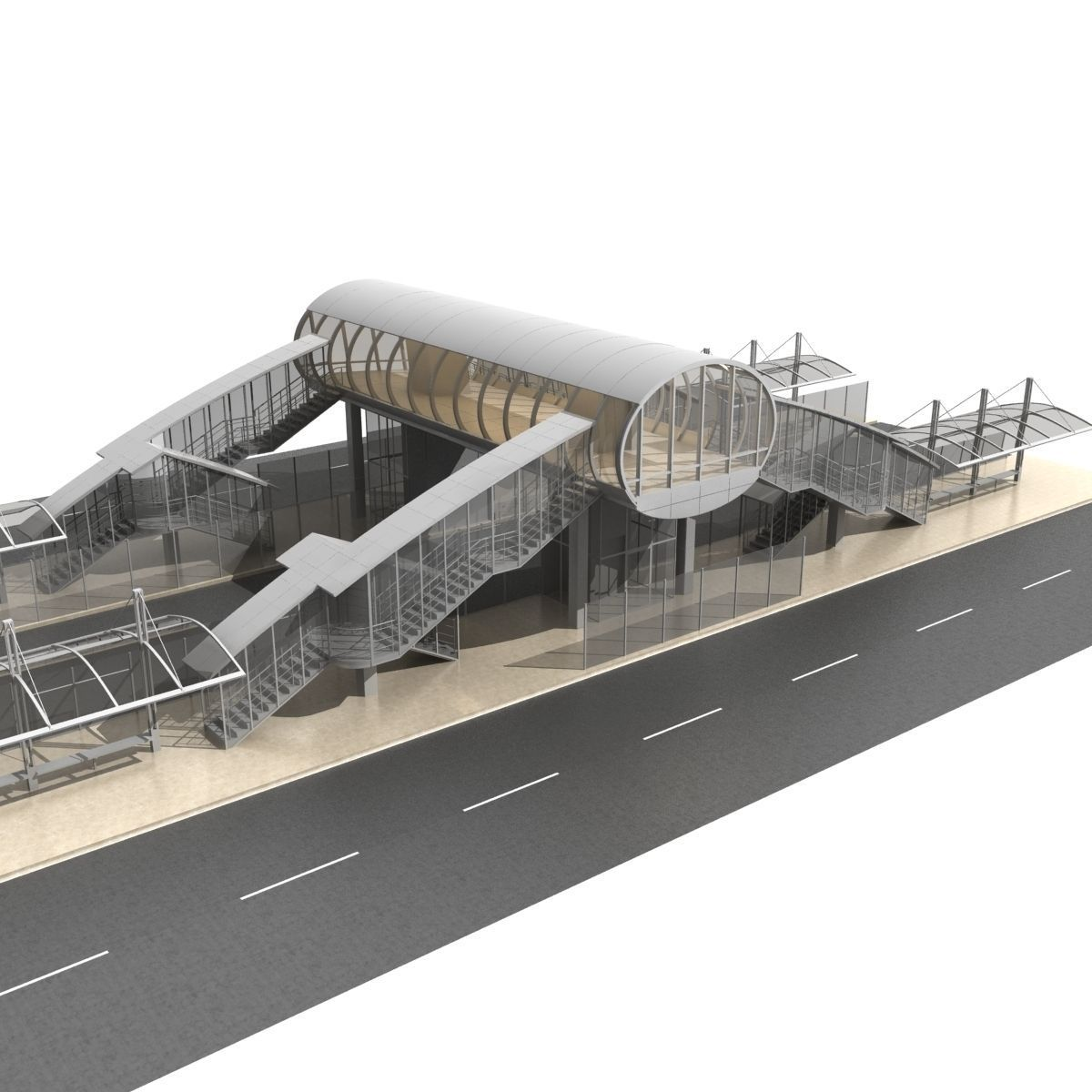 Walk Bridge With Bus Stop And Elevators 1 3D Model MAX OBJ