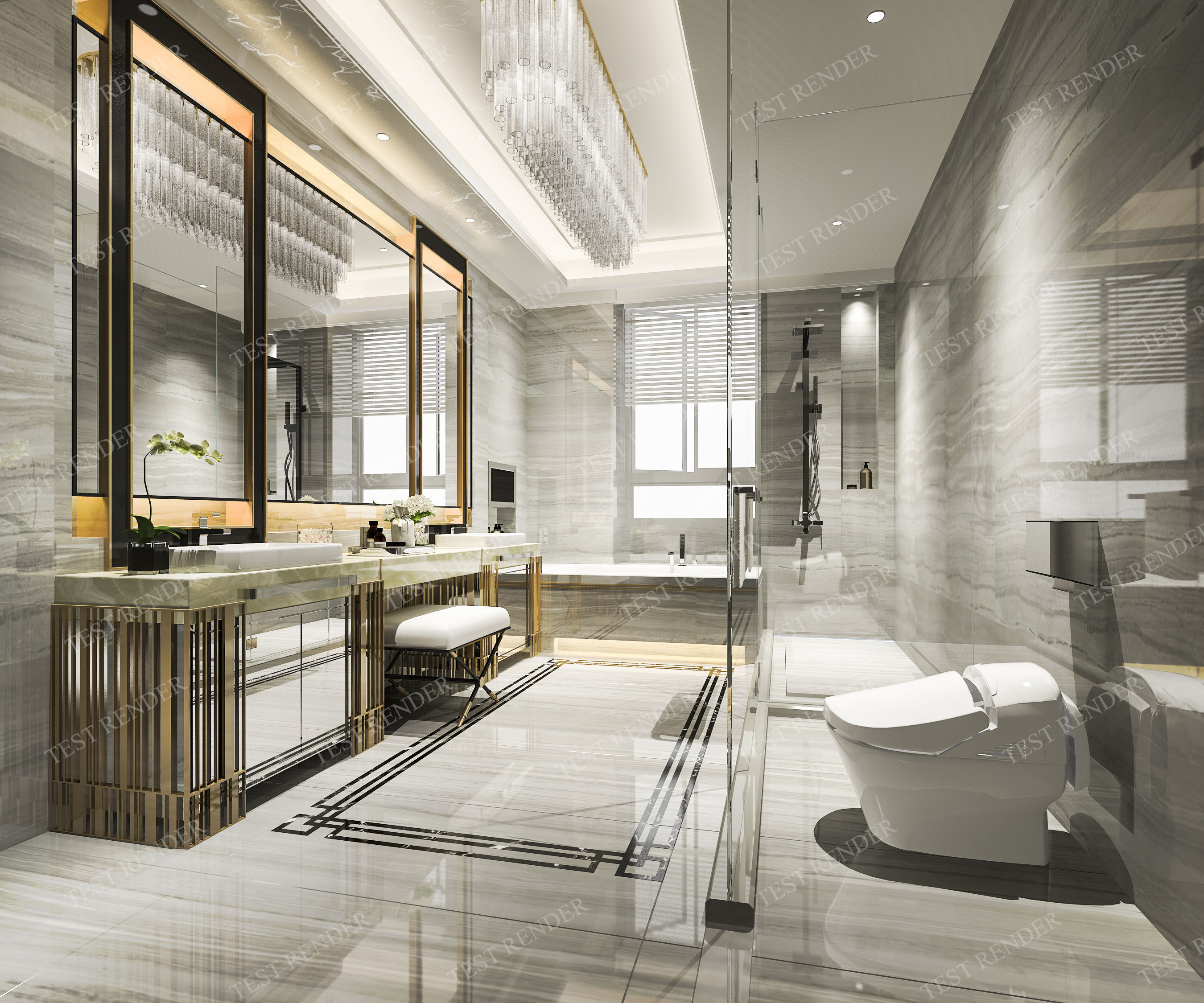 Modern luxury marble toilet and 3D model on Model Toilet Design  id=34762