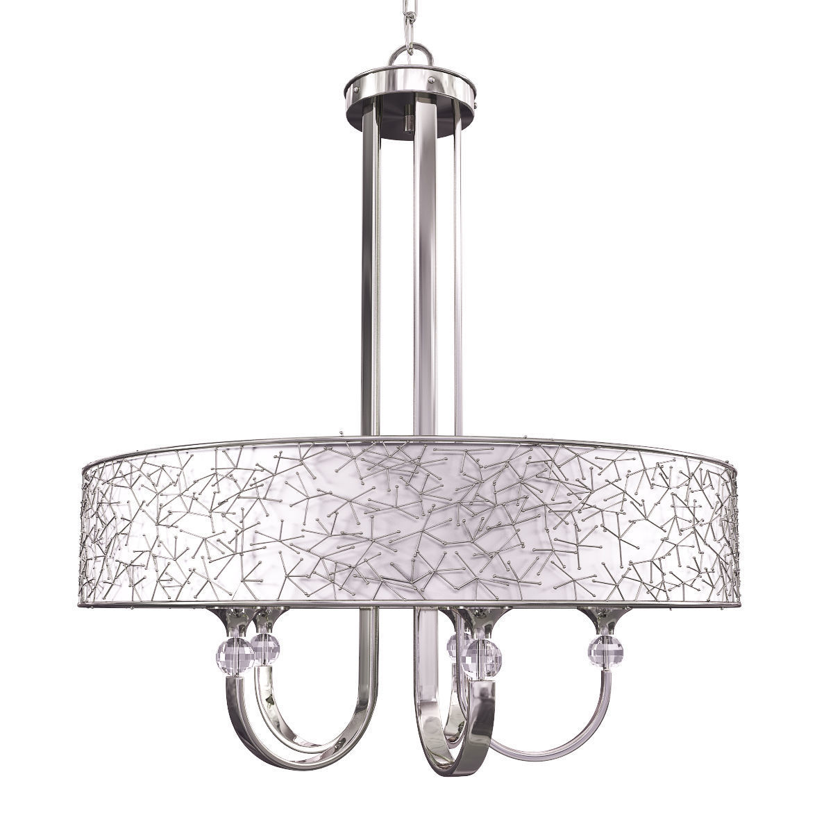 3d Global Direct 5 Light Nickel Drum Chandelier
