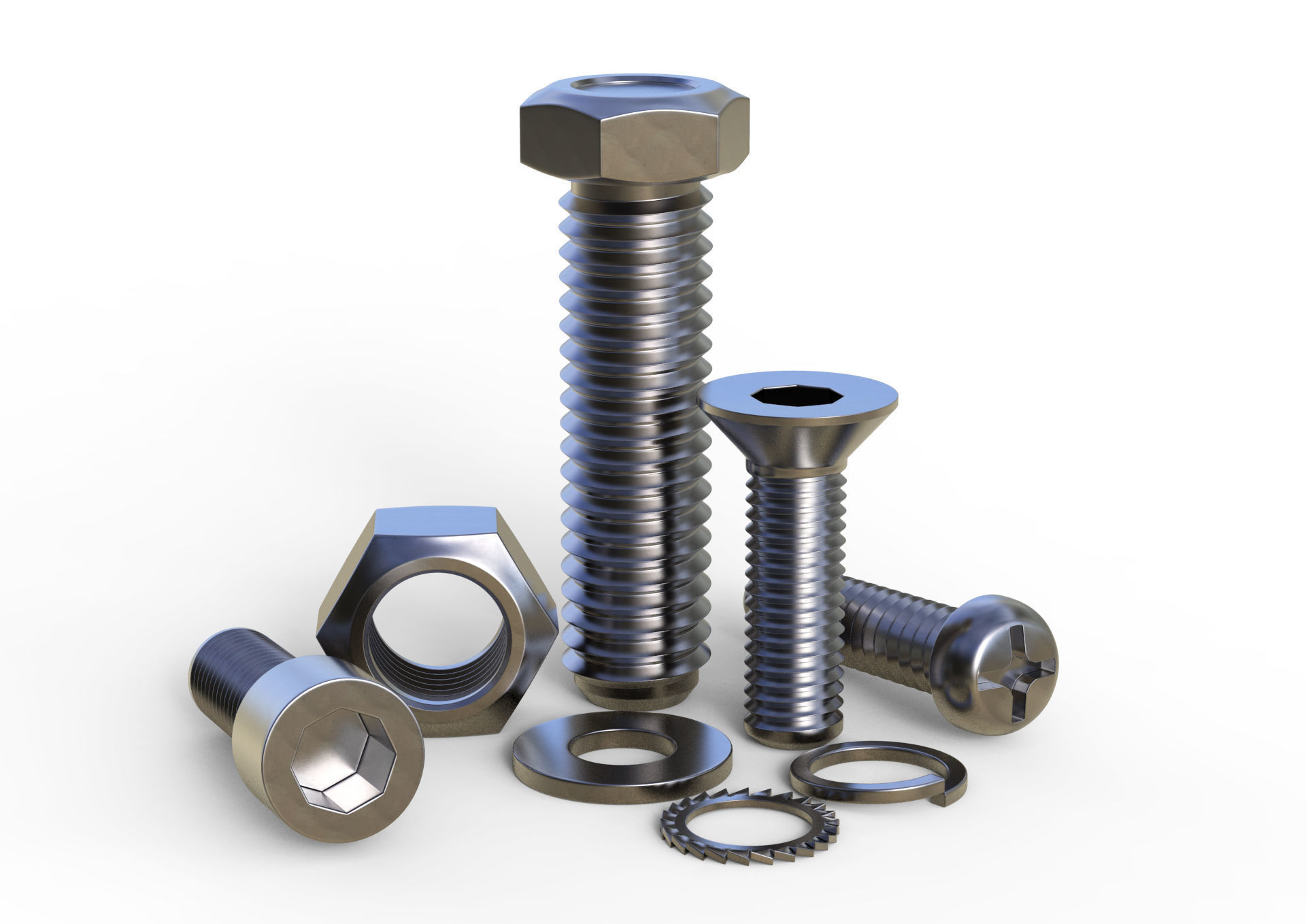 3d Model Nuts And Bolts