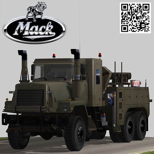 3D Model Mack R600 Heavy Utility Army Wrecker Truck VR