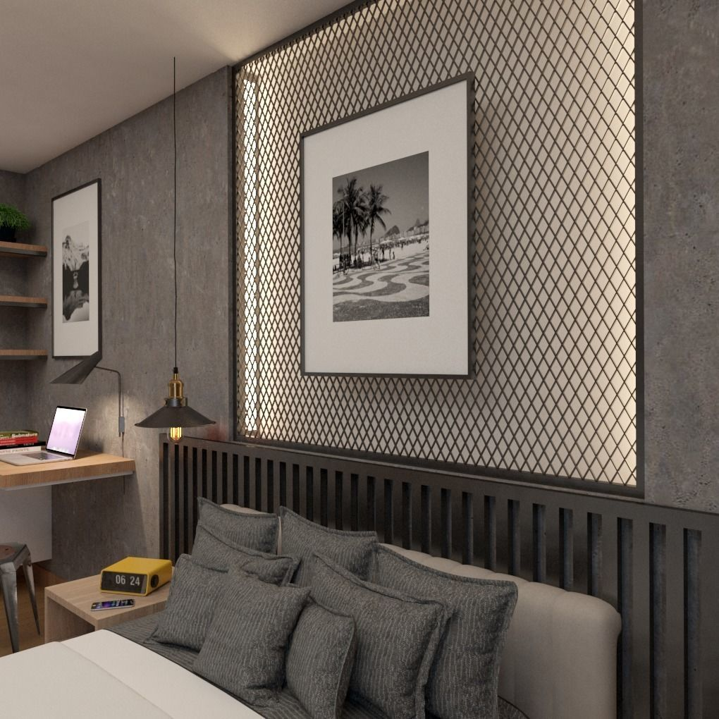 Industrial Modern Bedroom Design 3D | CGTrader on Model Bedroom Design  id=33261