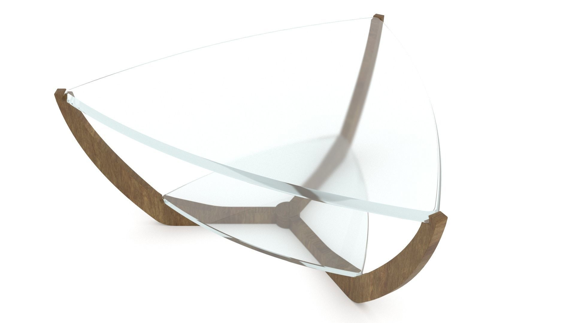 triangular glass coffee table on a wooden base 3ds max 3d model
