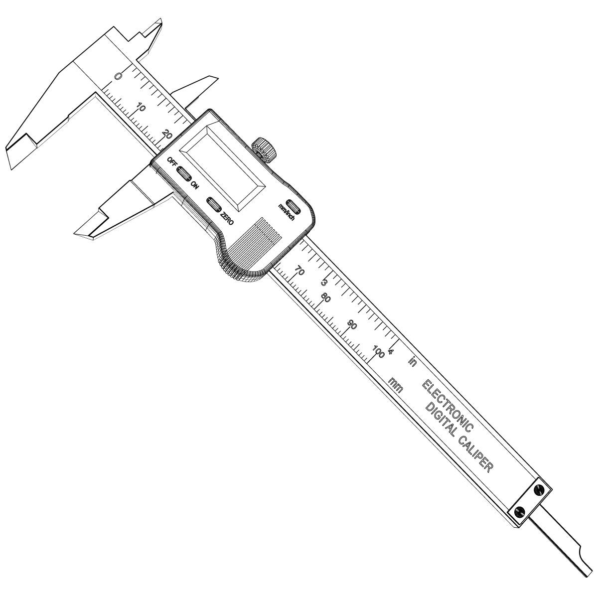 Digital Caliper 3d Model Max Obj 3ds Wrl Wrz