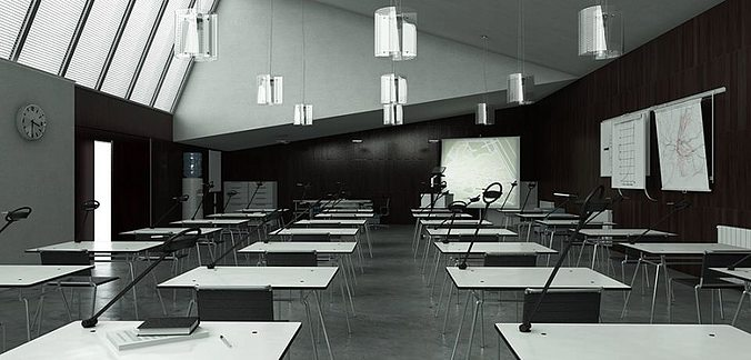 Black And White Classroom With Engineering Posters 3D Model MAX MA MB