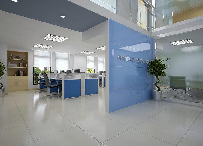 3D Models Detailed Office Interior Scene 3D Model MAX