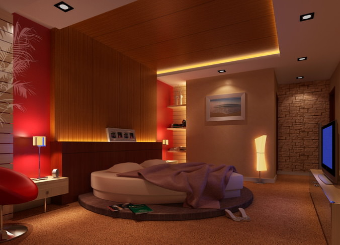 3D Bedroom With Heart Shaped Bed CGTrader