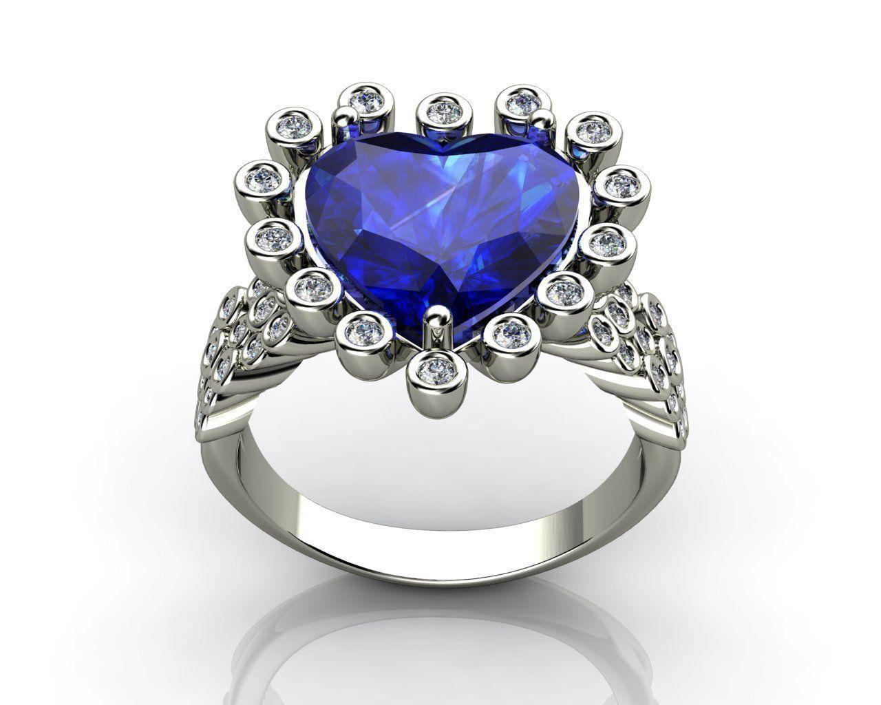 Heart And Diamond Engagement Wedding Ring 3D Model 3D