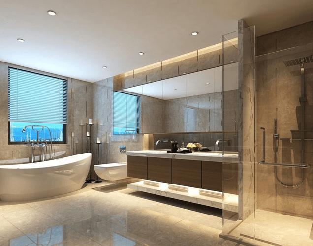 Bathroom with shiny floor and big mirror transparent ... on Bathroom Models  id=40289