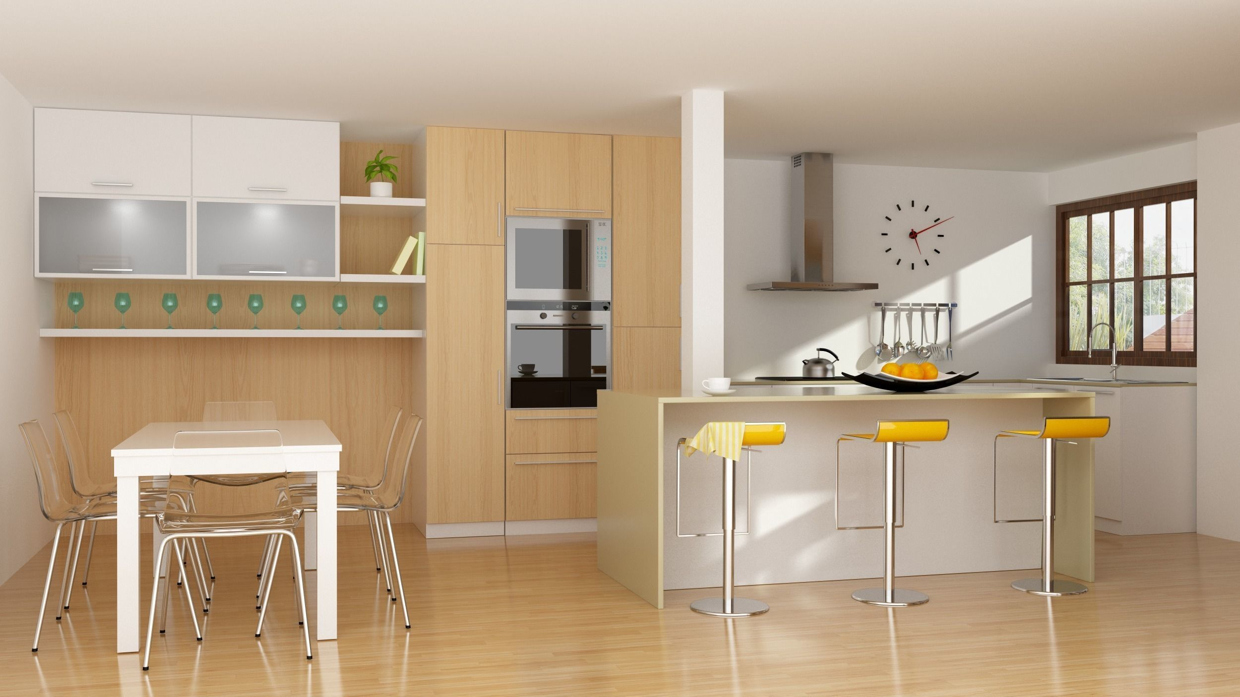 3D Modern kitchen interior with parquet floor | CGTrader on Modern Model Kitchen  id=29974