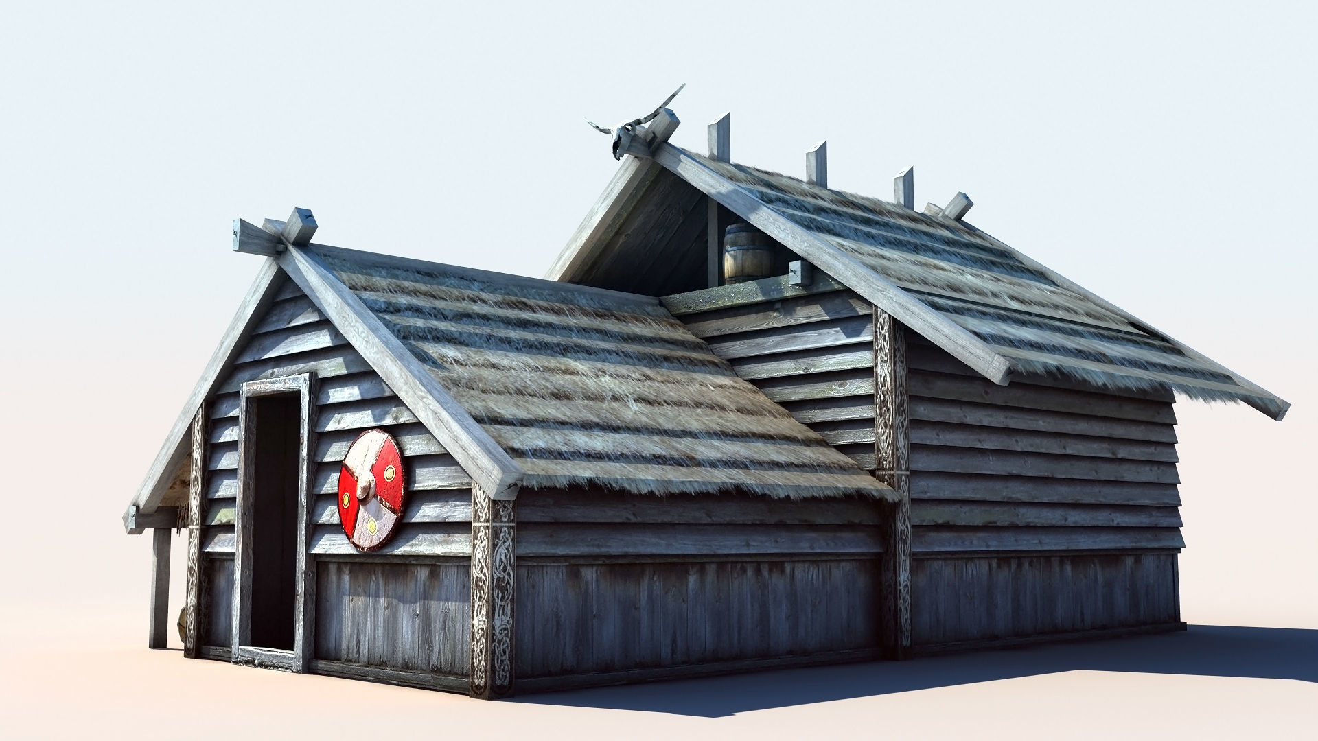 3d Model Viking House 2 Vr Ar Low Poly Max Obj Mtl Tga