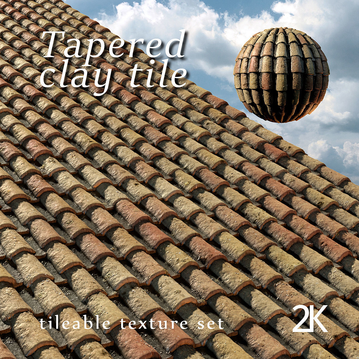 3D Tapered clay tile or spanish roof tile texture set on Tile Models  id=84980