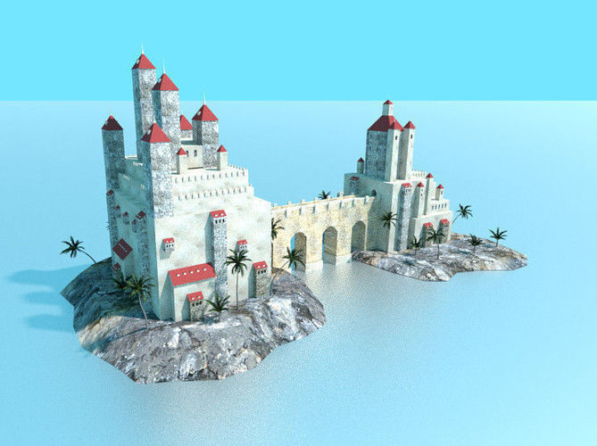 Low Poly Sea Castle 3D Asset CGTrader
