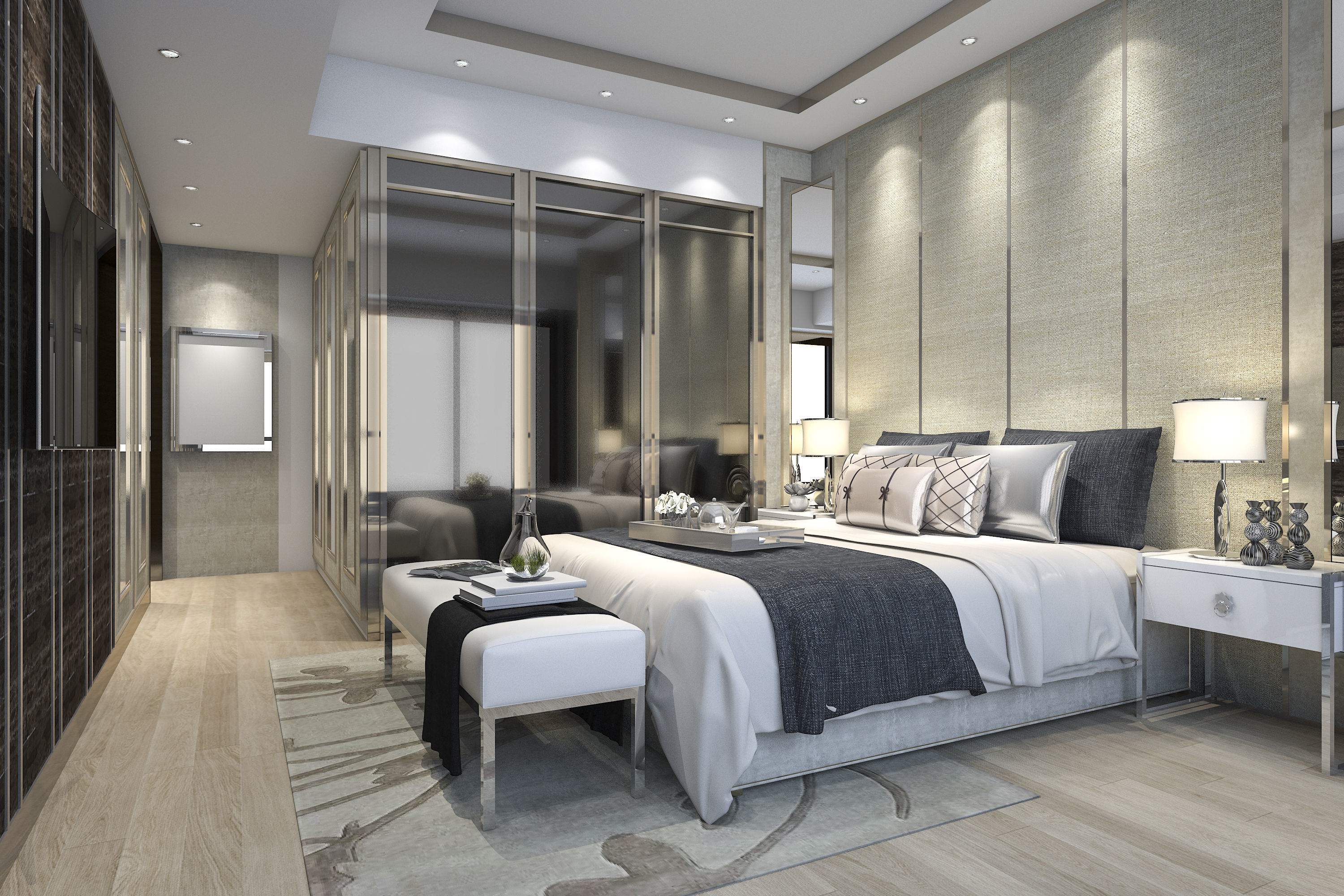 luxury modern bedroom suite in hotel with wardrobe 3D ... on Model Bedroom Ideas  id=94163