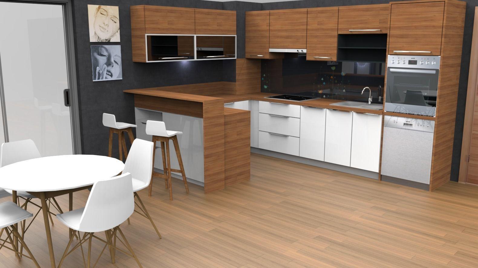 3D asset modern kitchen design with island | CGTrader on Model Kitchen Design  id=17831