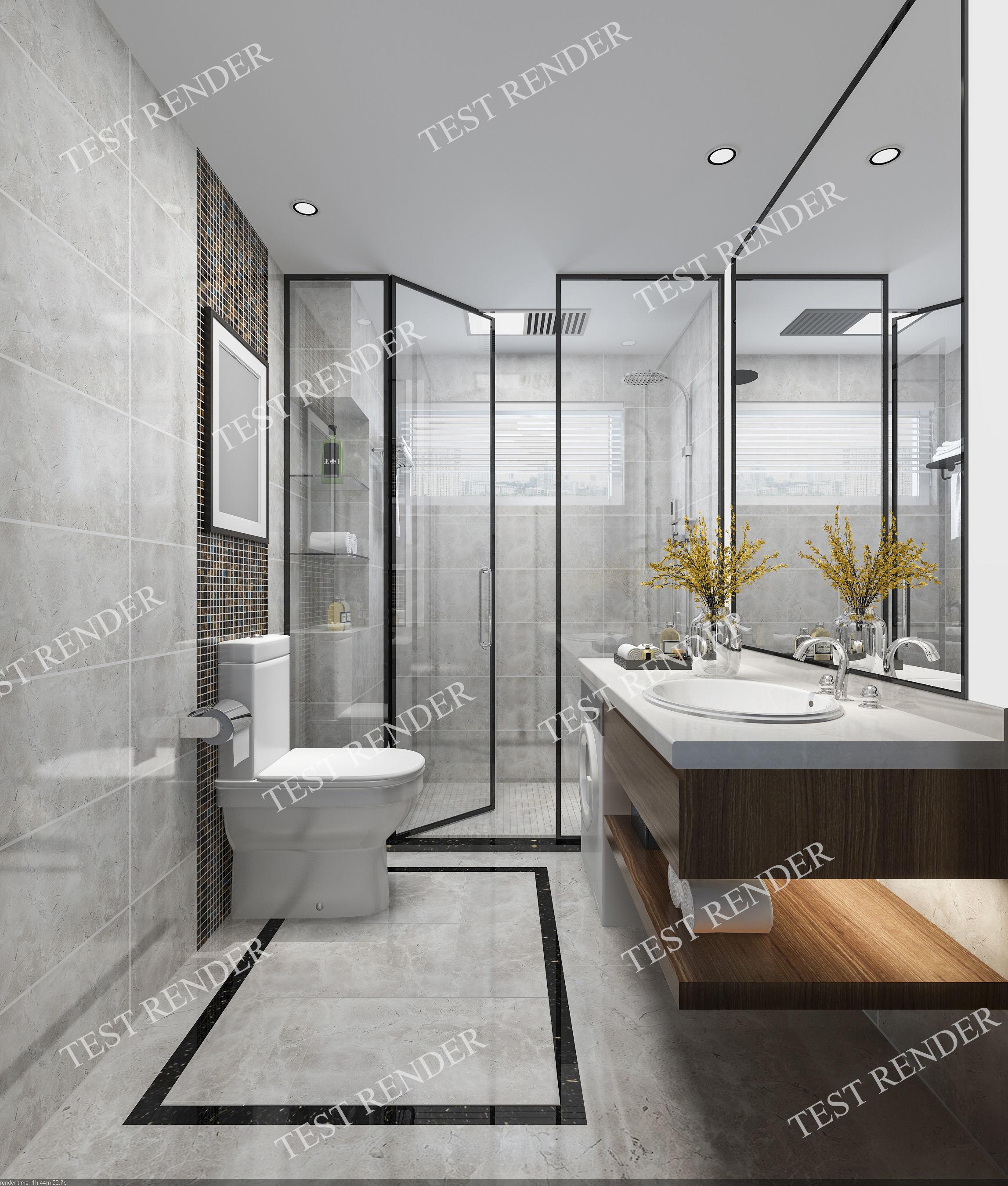 Modern luxury marble toilet and bathroom 3D model on Model Toilet Design  id=89848