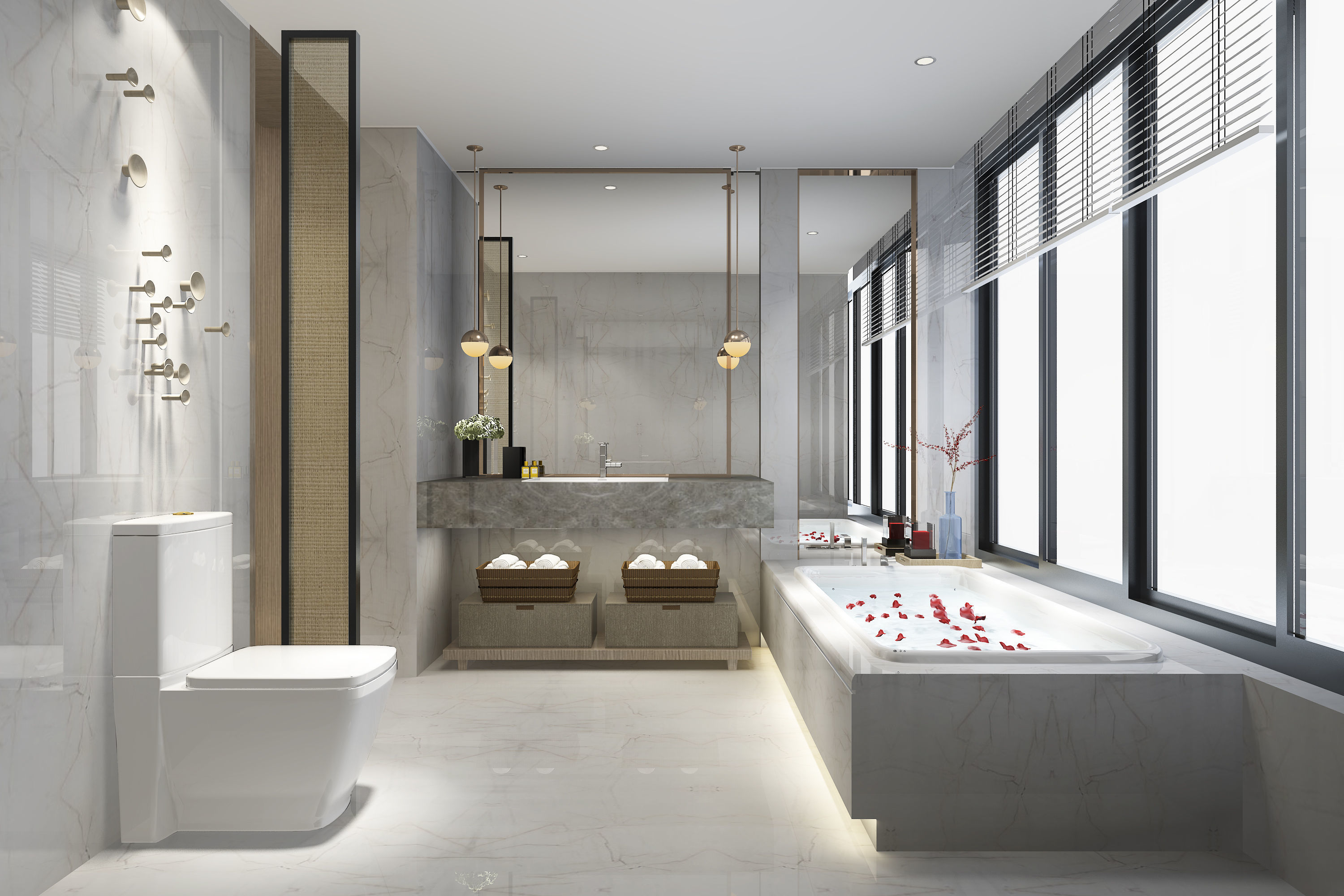 3D Modern luxury marble toilet and bathroom wall | CGTrader on Model Toilet Design  id=89200