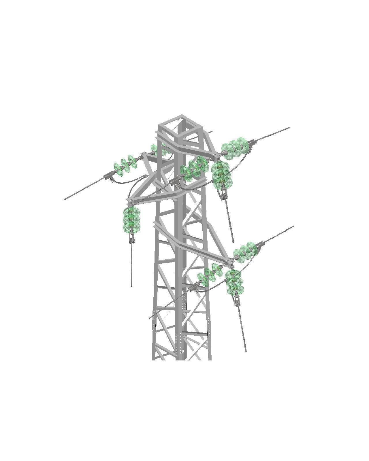 Voltage Overhead Power Line Tower 952 Node Free 3d Model