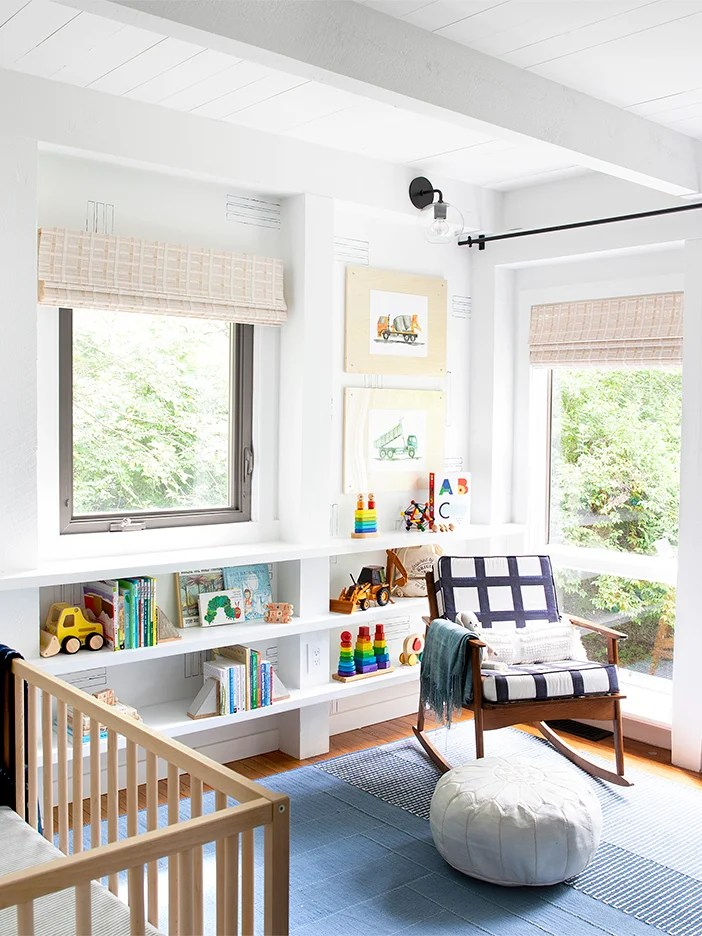 Post and beam nursery with wall shelves