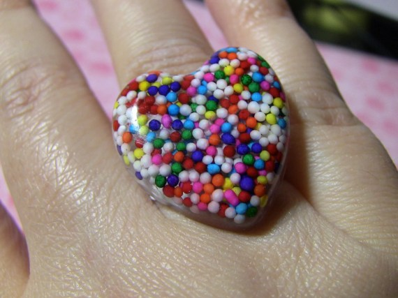 large candy heart ring - pussycat