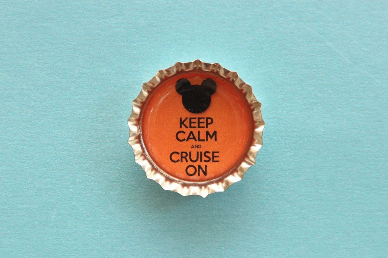 Keep Calm and Cruise On Disney Cruise Inspired Bottle Cap Magnet, great for fish extender gifts