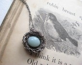 bird's nest necklace...robin's nest...silver, amazonite - PreciousMeshes