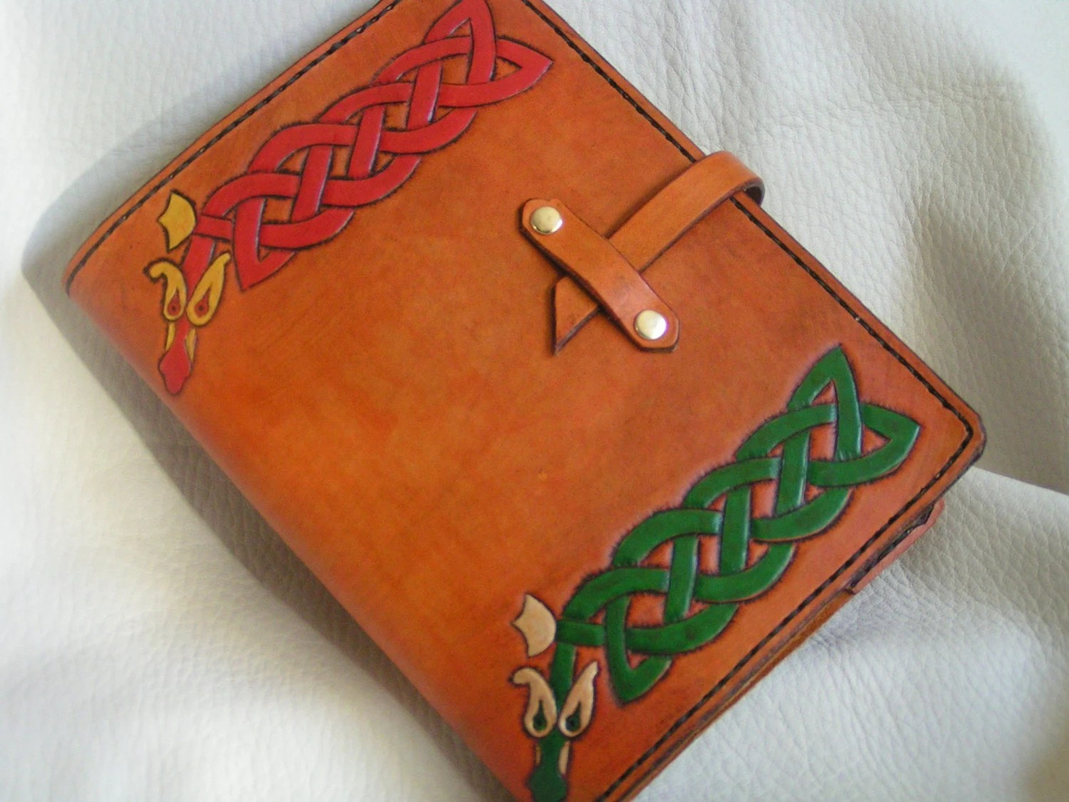 Celtic snakes hand tooled leather journal cover - ravenshold