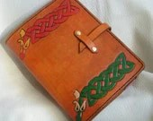 Celtic snakes hand tooled leather journal cover - ravenshold