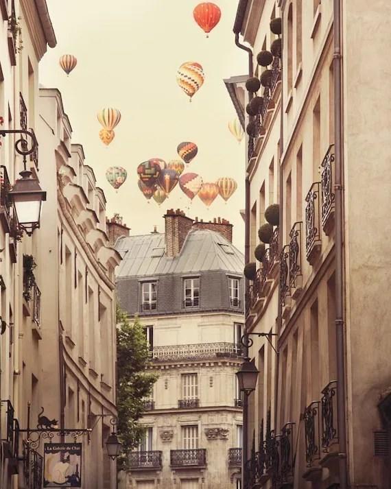 Paris photograph - Paris is a feeling -  Hot air balloons over romantic Paris street - Surreal Fine art travel photography