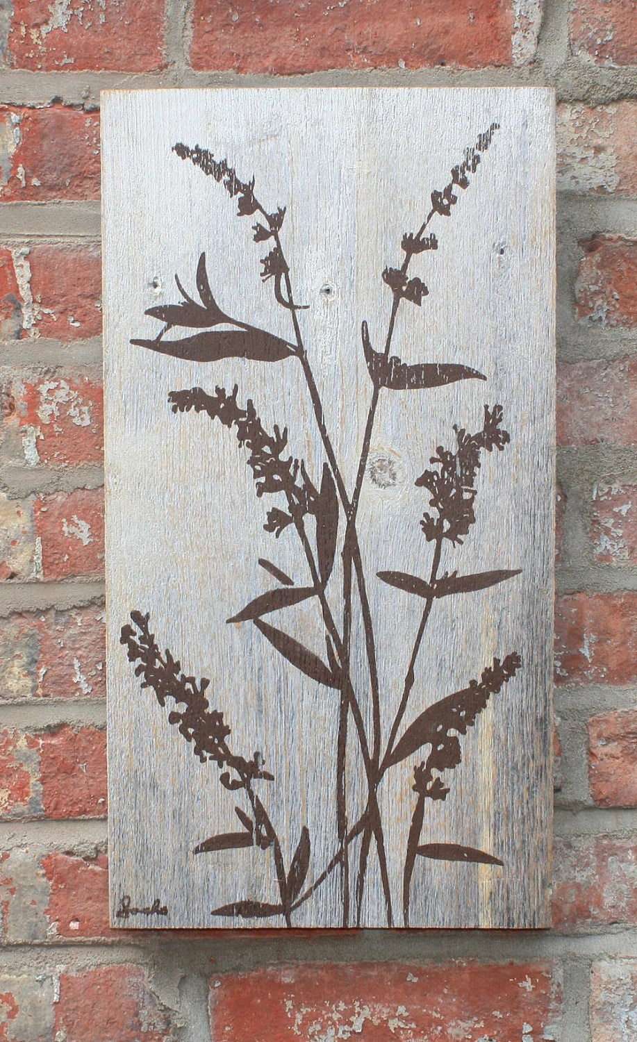 Brown Flowers on Grey Reclaimed Barn Wood Wall Hanging