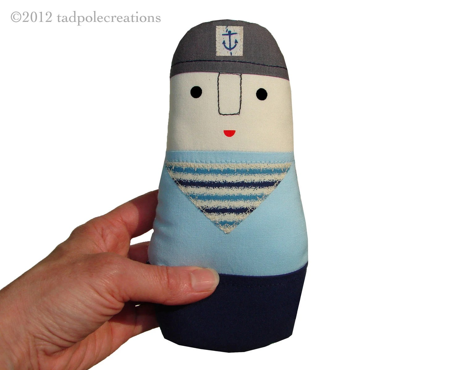 Hey Sailor Baby Organic Cotton Cloth Doll -Toddler - Boy - Unisex - Eco Friendly Nautical Baby Gift - tadpolecreations